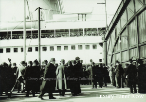 Olympic arriving on April 10, 1912, the same day Titanic sailed from Southampton.  Among the passengers lining the rails may be the Vanderbilts.