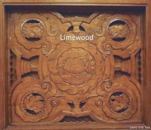 Carved panel by James Woodford.