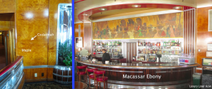 Left: The port aft corner of the room.  Right: The bar with A.R. Thomson's Royal Jubilee Week, 1935, above.